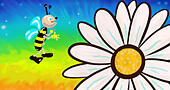 happy bee and daisy flower illustration - Stock Image - KHA9BE