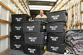 Ballot boxes being delivered to Sheldon Heath community centre ready for voting in the General Election - Stock Image - EP1TAY