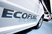 Ecofuel lettering on a VW Touran, Volkswagen AG group, with natural gas engine, at the 63. Internationale Automobilausstellung - Stock Image - BXBHDD