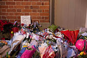 Goring, UK. 26th Dec, 21016.  Flowers, candles and words of sympathy were left outside George Michael's home in Goring. George Michael passed away yesterday.© Pete Lusabia/Alamy Live News - Stock Image - HF0C8K