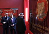 Moscow, Russia. 4th May, 2017.  Director of the Russian State Archive of social and political history, Andrei Sorokin, chairman of the Russian Historical Society, Russian Foreign Intelligence Service Chief Sergei Naryshkin, and Russian Federal Archival Agency Head Andrei Artizov (L-R) attend the opening of a historical and documentary exhibition titled '1942. In the Headquarters of the Victory', marking the 72nd anniversary of the victory over Nazi Germany in the 1941-1945 Great Patriotic War, the Eastern Front of World War II, in the Manege Central Exhibition Hall. Credit: ITAR-TASS Photo Age - Stock Image - J3AY90
