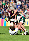 London, UK. 8th October, 2016. George Derrick of Harlequins was tackled during Aviva Premiership Rugby game between Harlequins and Northampton Saints at Twickenham Stoop on Saturday. © Taka Wu/Alamy Live News - Stock Image - H3GMXT