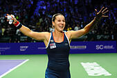 Singapore. 30th Oct, 2016. Dominika Cibulkova of Slovakia celebrates after winning the WTA Finals match against Angelique Kerber of Germany at Singapore Indoor Stadium, Oct. 30, 2016. Cibulkova won 2-0. © Then Chih Wey/Xinhua/Alamy Live News - Stock Image - H6KCC3