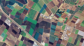 aerial map farming around Salinas river Monterey county California - Stock Image - B6GF96