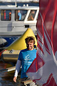 St. Petersburg, Russia, 21st August, 2015. Skipper of The Wave, Muscat sailing team Leigh McMillan from United Kingdom after the 2nd day of St. Petersburg stage of Extreme Sailing Series. This day the team become the leader of the stage © Lilyana Vynogradova/Alamy Live News - Stock Image - F0WFHT