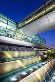 Stylish modern architecture of the 2010 opened Terminal 3 of Dubai International Airport, Dubai, UAE, United Arab Emirates - Stock Image - BKERR5