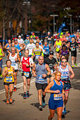 New York, USA. 06th Nov, 2016. Runners pass through Harlem in New York near the 22 mile mark near Mount Morris Park on Sunday, November 6, 2016 in the 46th annual TCS New York City Marathon. About 50,000 runners from over 120 countries are expected to compete in the race, the world's largest marathon. ( © Richard B. Levine) © Richard Levine/Alamy Live News - Stock Image - H7M6M4
