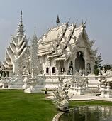 Wat Rong Kung, the famous White Temple in Chiang Rai province in northern Thailand - Stock Image - S18183