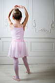 Young girl performing a ballet move - Stock Image - B07WH0