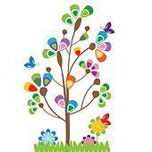 Cute kids cartoon with tree and flowers - Stock Image - DNNHMT