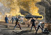 Big guns of Fort Sumter returning fire from Fort Moultrie at the start of the Civil War, 1861 - Stock Image - BJW93E