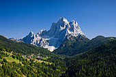 Italy Alps Veneto Dolomites Cadore hill wood forest meadows Pelmo holidays travel, - Stock Image - BNM91N