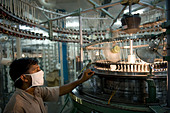 India Indore , textile mill produce yarn and fabric from fair trade cotton - Stock Image - B70CN6