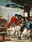 The Bostonians Paying the Excise Man. The Sons of Liberty tarring and feathering a tax collector underneath the Liberty Tree - Stock Image - C283PK