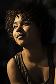 Portrait of happy female Afro-American - Stock Image - DWDR7P