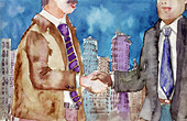 Watercolor illustration of business people shaking hands over a deal - Stock Image - CR2MC7