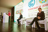 Marrakech, Morocco. 15th Nov, 2016. The German Federal Minister of the Environment Barbara Hendricks, the Moroccan Minister of Environment Hakima El Haite and the French leading negotiator Laurence Tubiana partake in the UN Climate Conference COP22 in Marrakech, Morocco, 15 November 2016. Germany and the host Morocco have introduced a climate protection consultation programme for less experienced nations. Photo: Abdellah Azizi/dpa/Alamy Live News - Stock Image - H8R4WN