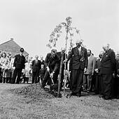 Mohammad-Reza Shah Pahlavi, the Shah of Iran plants a tree watched by residents of Makepieace Road in the new town of Bracknell during his visit to Britain. 7th May 1959. - Stock Image - EM5BJ7