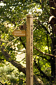 Wooden signpost in the Peak District National Park Derbyshire UK England GB Great Britain - Stock Image - B563AD