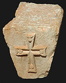 5887. Architectural detail, cross decorated capital from a byzantine church in Judea/Samaria - Stock Image - GG1JWY