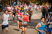New York, USA. 06th Nov, 2016. Runners pass through Harlem in New York near the 22 mile mark near Mount Morris Park on Sunday, November 6, 2016 in the 46th annual TCS New York City Marathon. About 50,000 runners from over 120 countries are expected to compete in the race, the world's largest marathon. ( © Richard B. Levine) © Richard Levine/Alamy Live News - Stock Image - H7M6KW