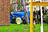 London, United Kingdom. 31st October 2017. A man has been rescued from a house fire in Leythe Road in Acton, London. The man received medical attention by the roadside before being transported to a London hospital. Credit: Peter Manning/Alamy Live News - Stock Image - KFPNH4