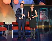 Cologne, Germany. 28th Oct, 2015. The award winners, British journalist Eliot Higgins and ZDF journalist Marietta Slomka, pose during the Hanns Joachim Friedrichs Award ceremony in Cologne, Germany, 28 October 2015. Photo: HORST GALUSCHKA - NO WIRE SERVICE -/dpa/Alamy Live News - Stock Image - F57BXH