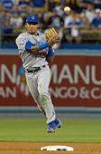 Los Angeles, California, USA. 20th Oct, 2016. Chicago Cubs shortstop Addison Russell forces out Los Angeles Dodgers' Justin Turner (not pictured) at second base in the eighth inning during game five of the National League Baseball Championship Series on Thursday, Oct. 20, 2016 in Los Angeles. Chicago Cubs won 8-4. (Photo by Keith Birmingham, Pasadena Star-News/SCNG) © San Gabriel Valley Tribune/ZUMA Wire/Alamy Live News - Stock Image - H5FBGH