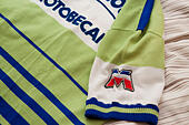 Cycling jersey of the French professional racing La Redoubte Motobecane detail - Stock Image - HDX51J