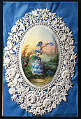 fine arts, print, chromolithograph on precious paper, embossed and pierced, flower girl waving farewell to a steamer, circa 1850/1860, private collection, - Stock Image - GD26AA