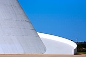 architecture detail of the futuristic national museum of brasilia city - Stock Image - ANYHDH