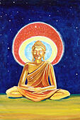 Illustration of a Golden Buddha meditating - Stock Image - E5XPB7