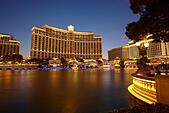 Bellagio hotel at night, Las Vegas, Nevada, United States - Stock Image - JCGYE4
