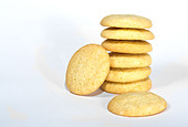 Close up of a stack of sugar cookies isolated - Stock Image